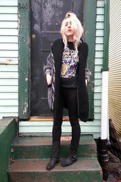 black Miu Miu boots - black rolling stones vintage t-shirt