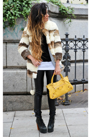 vintage fur coat - Jeffrey Campbell shoes - leather leggings