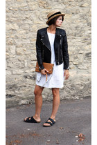 leather H&M jacket - acne bag - Birkenstocks sandals