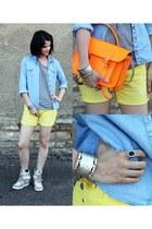 orange cambridge satchel bag - light blue denim Topshop shirt