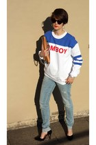 tomboy Filles a papa sweater - acne bag - Zara heels