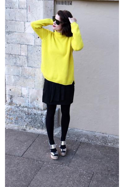 Topshop wedges - rayban sunglasses - Topshop sweatshirt