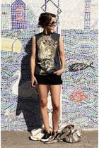 new look shirt - Topshop shorts - Chanel sunglasses