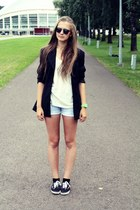 shorts - vintage blazer - shirt - sunglasses - Vans sneakers