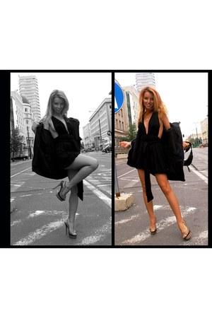 black H&M dress - Guess bag - men oldschool adidas blouse