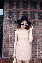 light pink dress - black hat - ivory glasses