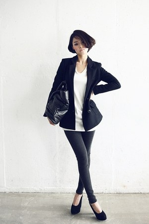 white shirt - dark gray blazer - black heels