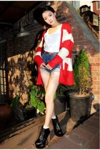red cardigan - black boots - white shirt - navy shorts