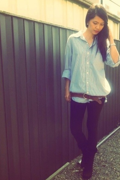 black Avail boots - black black tights Topshop leggings - blue JCrew shirt - bro