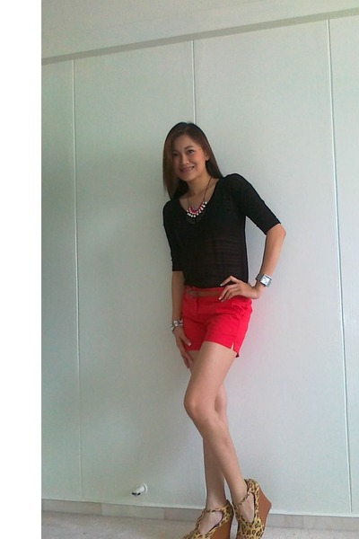 red Gap shorts - black Forever 21 blouse - burnt orange Esprit belt