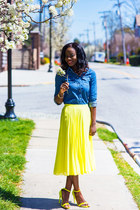 Asos Pleated Midi Skirt skirt - HM Denim Shirt shirt - Neon Heel Sandals heels