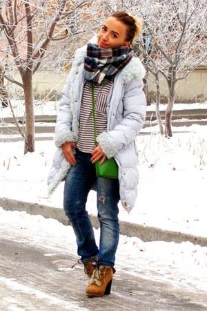 green Zara purse - brown Bershka boots - periwinkle unknown coat