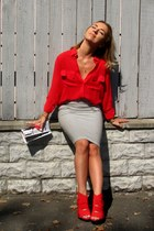 red Zara heels - camel Zara bag - black Parfois sunglasses