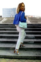 blue Oggi jacket - white Bershka jeans - sky blue new look bag