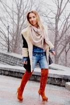 tan unknown brand scarf - dark brown LEXI boots - violet Bershka jeans