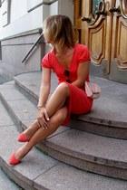 red Naf Naf dress - light pink Stradivarius bag - red Bershka heels