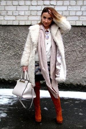 beige faux fur warehouse coat - crimson LEXI boots - beige Zara sweater