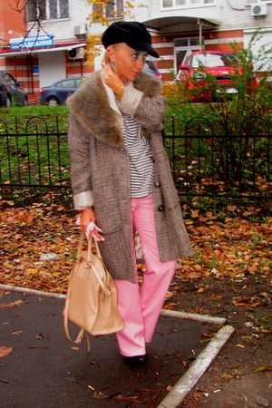 dark brown River Island coat - black Zara hat - tan Coccinelle bag