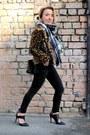 Black-bershka-jeans-dark-brown-zara-jacket-navy-tartan-topshop-scarf