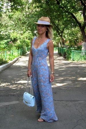 periwinkle Oggi dress - tan Stradivarius hat - periwinkle new look bag