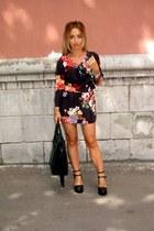black Zara heels - black new look dress - black Naf Naf bag