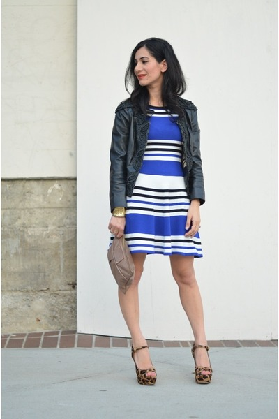 navy Torn by Rony Kobo dress - black Anthropologie jacket - brown Prada heels