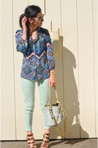 blue Anthropologie blouse - aquamarine Zara jeans - light blue Marc Jacobs bag