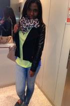 chartreuse BLANCO blouse - Zara jeans - dark gray Zara jacket - tan Mango bag
