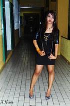 black leather Best Mail jacket - black dress - animal print MNJ pumps