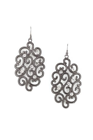 charcoal gray rhinestones INPINKcom earrings