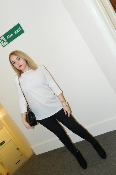 Zara pants - Topshop boots - Chanel bag - Zara blouse - calvin klein watch