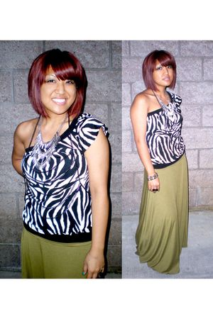 green no brand skirt - black no brand top - silver Ikandy necklace - black IRATI