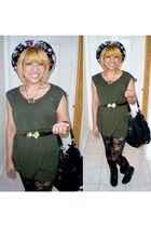 green Forever21 dress - black deux lux bag - black threadsence hat - gold urbano