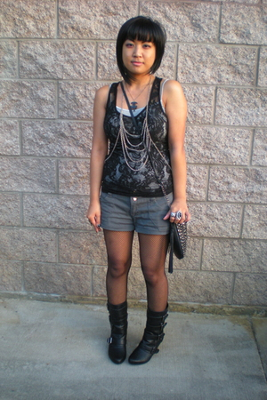 Forever21 boots - studded sling Forever21 purse - no brand necklace