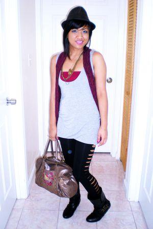 black no brand leggings - gray no brand top - pink no brand vest - brown IRATIK
