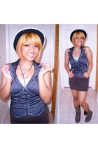 silver Guess necklace - gray Papayaclothing vest - brown Forever21 skirt - black