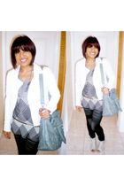 white jacket - gray top - green purse - blue tights - white shoes - silver neckl