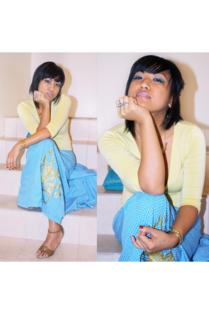 blue gsus skirt - yellow Bebe top - brown Classified shoes - silver Belowcostclo