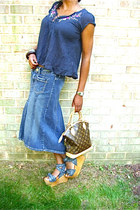 denim fishtail Levis skirt - LouisVuitton purse - floral top