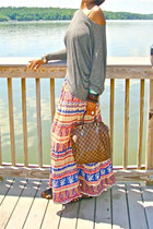 sandals - Louis Vuitton purse - top - artsy skirt