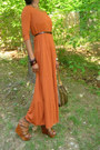 Carrot-orange-tieres-maxi-dress-galleria-louis-vuitton-purse-brown-strappy-w