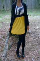 white wedges - yellow stripe dress - black tights - black black cardigan