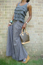Floral-skirt-lv-bag-grey-leather-wedges-ruffled-top-fendi-watch