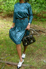 White-patent-leather-shoes-teal-silk-print-vintage-dress-black-b-bag-fendi-p