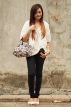 white bread n butter blazer - black Candies jeans - black Heartstrings bag