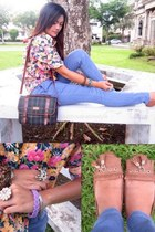teal Morechino bag - violet high waisted jeans - gold floral top - bronze flats