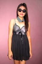 black sunglasses - black skirt - charcoal gray corset intimate