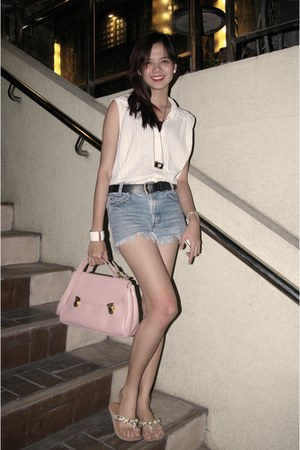 light pink random bag - blue Levis shorts - white Guess flats - white random blo