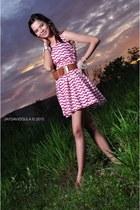 pink chill dress - brown random belt