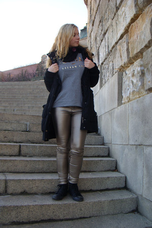 black Tally Weijl coat - gold Tally Weijl pants - heather gray Old Navy t-shirt